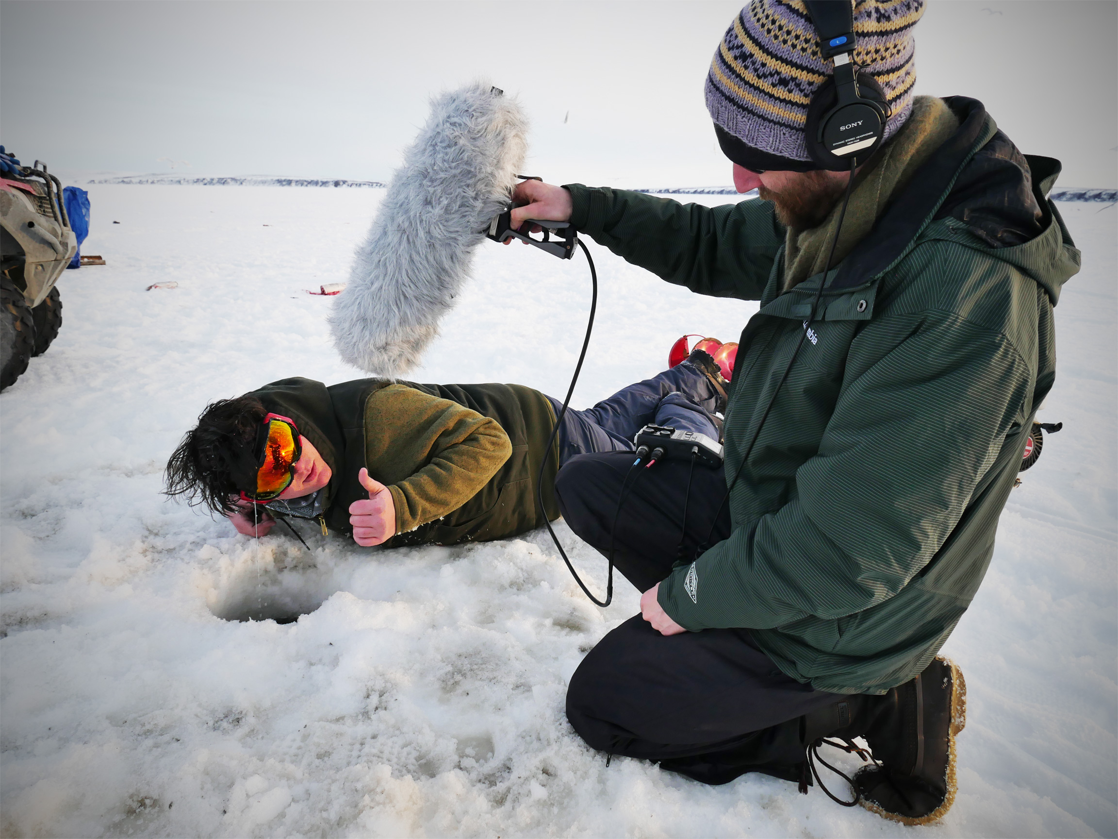 Jamie Hunsdale and Brendan Hogan of Impossible Acoustic record ice sounds in Kotzebue for Never Alone: Foxtales